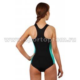 Купальник для плавания SHEPA совместный женский со вставками 006 Черно-зеленый (2)