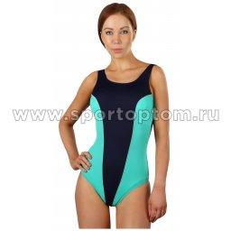 Купальник для плавания SHEPA  слитный женский со вставками 031 Т.Сине-зеленый