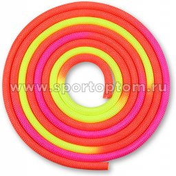 Скакалка для художественной гимнастики утяжеленная трехцветная INDIGO 165 г IN126 3 м Красно-желто-розовый