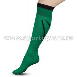 Гетры футбольные с рисунком, уплотнением и сеткой на стопе INDIGO Спорт 3-1 32-34 Зеленый