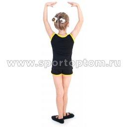 Майка гимнастическая INDIGO с окантовкой SM-341Черный-желтый (2)