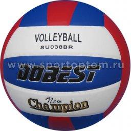 Мяч волейбольный DOBEST тренировочный клееный (PU) 038 BR SU Бело-сине-красный