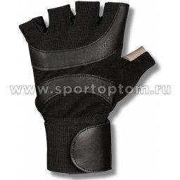 Перчатки для фитнеса  INDIGO с широким напульсником и/к, эластан 97838 IR Черно-белый