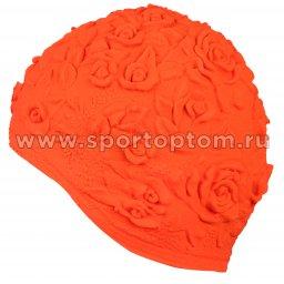 Шапочка для плавания INDIGO женская объемный рисунок Розы  IN083 Оранжевый