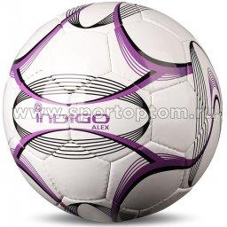 Мяч футбольный №5 INDIGO ALEX любительский (PVC 1.2 мм) N002 Бело-фиолетовый