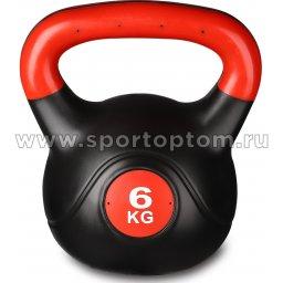 Гиря пластиковая INDIGO IN041 Черно-красный 6 кг (1)