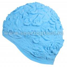Шапочка для плавания INDIGO женская объемный рисунок Розы  IN083 Голубой