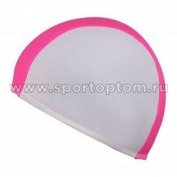 Шапочка для плавания  ткань LUCRA SM комбинированная SM-088 Бело-розовый