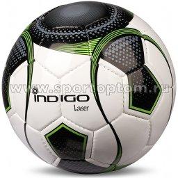 Мяч футбольный №5 INDIGO LASER матчевый (PU 1.4 мм Япония) B00 Бело-черно-зеленый