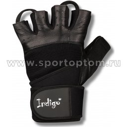 Перчатки для фитнеса  INDIGO с широким напульсником кожа,эластан,неопрен SB-16-1089 Черный