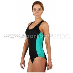 Купальник для плавания SHEPA совместный женский со вставками 006 Черно-зеленый (3)
