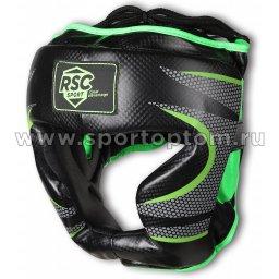 Шлем боксерский закрытый RSC  PU   3693 XL Черно-зеленый