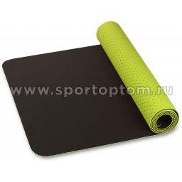 Коврик для йоги и фитнеса INDIGO TPE перфорированный двусторонний IN105 Салатово-черный (2)