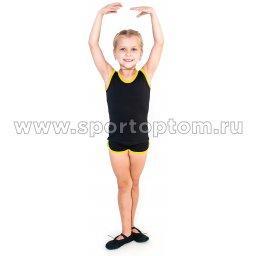 Майка гимнастическая INDIGO с окантовкой SM-341Черный-желтый (1)