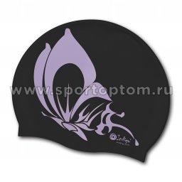 Шапочка для плавания силиконовая INDIGO Бабочка SCBT102 Черный