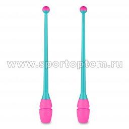 Булавы для художественной гимнастики вставляющиеся INDIGO IN018 41 см Бирюзово-розовый