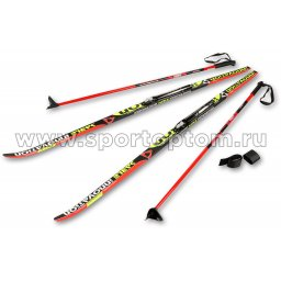 Лыжный комплект полупластиковый STC (лыжи, NNN крепления, палки) 175 см