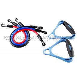 Эспандер в наборе 3 латексных жгута разной нагрузки плечевой INDIGO  12102 HKAS 48 см Красный, Синий, Черный