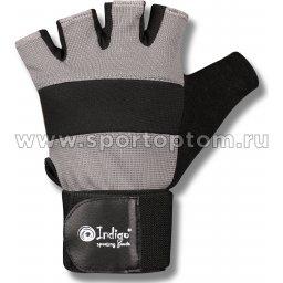 Перчатки для фитнеса  INDIGO с широким напульсником замша, эластан 97867 IR Бело-серый