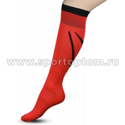 Гетры футбольные с рисунком, уплотнением и сеткой на стопе INDIGO Спорт 3-1 Красный