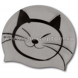 Шапочка для плавания силиконовая  INDIGO детская Котик SCCT501 Серый