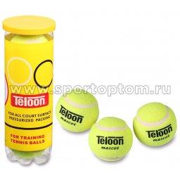 Мяч для большого тенниса TELOON (3 шт в тубе) тренировочный Стандарт 801Т Р3 Желтый