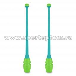 Булавы для художественной гимнастики вставляющиеся INDIGO (пластик,каучук) IN018 41 см Бирюзово-салатовый