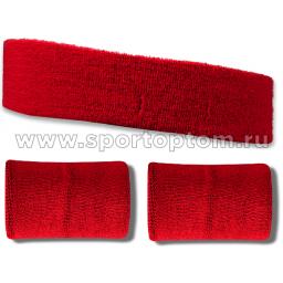 Повязка на голову + 2 напульсника махровые ЛВ11 14*7 см, 10*7 см Красный