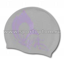Шапочка для плавания силиконовая INDIGO Бабочка SCBT101 Серый
