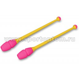 Булавы для художественной гимнастики вставляющиеся INDIGO IN018 41 см Желто-розовый