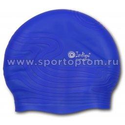 Шапочка для плавания силиконовая  INDIGO детская Волна SC303 Синий