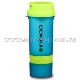 Бутылка для воды (шейкер) INDIGO BOLON  IN016  600 мл Салатово-синий