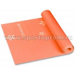 Коврик для йоги и фитнеса INDIGO PVC с рисунком Цветы  YG03P 173*61*0,3 см Оранжевый