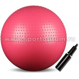 Мяч гимнастический массажный  2 в 1 INDIGO Anti-burst с насосом   IN003 65 см Розовый