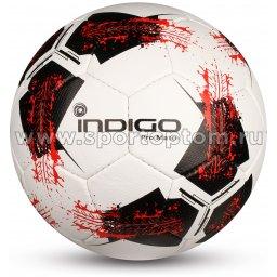 Мяч футбольный №5 INDIGO FLAME матчевый (PU 1.5 мм) IN156 Бело-черно-красный