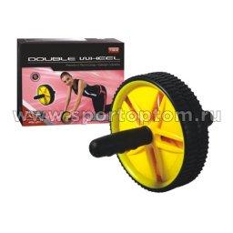 Ролик гимнастический 2 колеса JOEREX неопреновые  ручки 7902 Черно-желтый