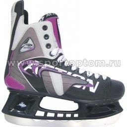 Коньки хоккейные Action SHARK (ПВХ, с/кож, нейлон; подкл: вельвет) PW-208A                   Серо-фиолетовый