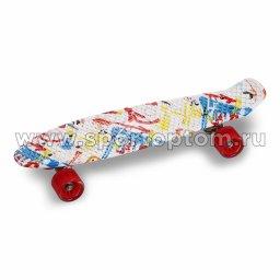 Круизер INDIGO GRAFFITI (шасси алюминиевое, ABEC 7, колеса PU) LS-P2206B 56,5*15 см Бело-сиий-красный