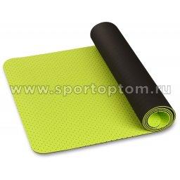 Коврик для йоги и фитнеса INDIGO TPE перфорированный двусторонний IN105 Салатово-черный (1)