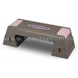 Степ-платформа для аэробики 3 уровня INDIGO IN170 70*28*12/17/22 см Серо-розовый