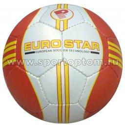 Мяч футбольный №5 INDIGO EURO STAR любительский (PVC 1.2 мм) 1154 Бело-красный