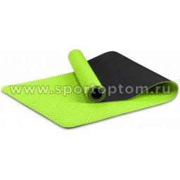 Коврик для йоги и фитнеса INDIGO TPE перфорированный двусторонний IN105 173*61*0,5 см Салатово-черный