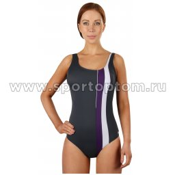Купальник для плавания SHEPA слитный  женский со вставками 047 Серый