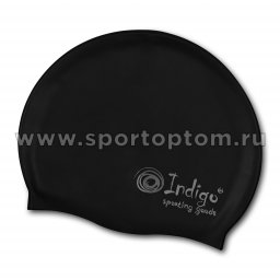 Шапочка для плавания силиконовая INDIGO однотонная 102 SC Черный
