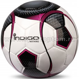 Мяч футбольный №5 INDIGO NATANO матчевый  (PU 1.6 мм Корея) N003 бело-черно-фиолетовый