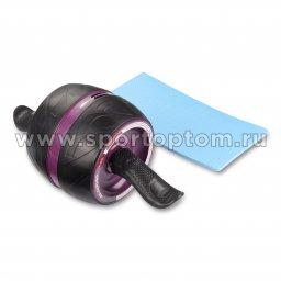 Ролик гимнастический 1 колесо INDIGO возвратный механизм с ковриком IN280 16*16 см Черно-фиолетовый
