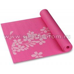 Коврик для йоги и фитнеса INDIGO PVC с рисунком Цветы YG03P Цикламеновый (2)