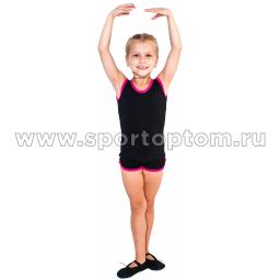 Майка гимнастическая INDIGO с окантовкой SM-334 Черный-фуксия (1)