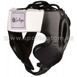 Шлем боксёрский закрытый INDIGO натуральная кожа  PS-831 Черный