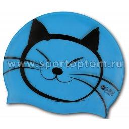 Шапочка для плавания силиконовая  INDIGO детская Котик SCCT508 Голубой